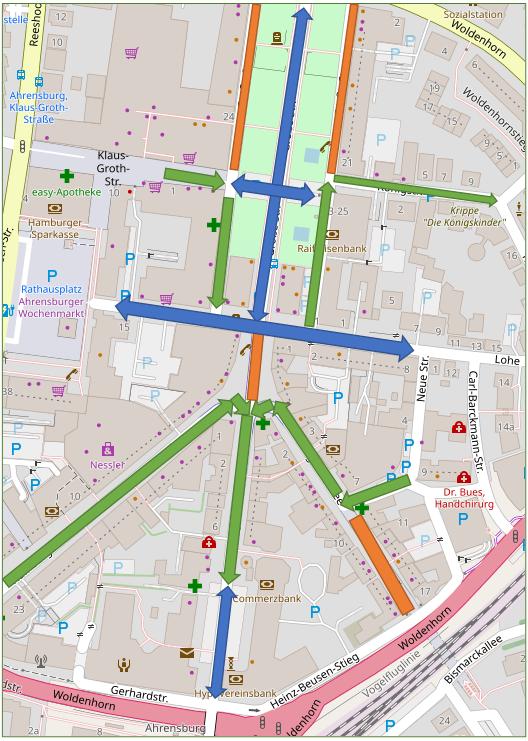 Verkehr in der Ahrensburger Innenstadt Status 2021